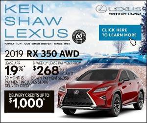 2019 Lexus RX 350 promotion offer in Toronto