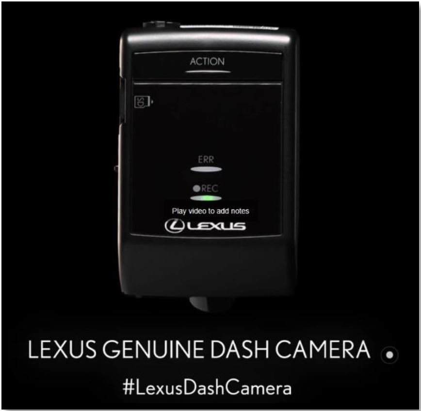 NEW! Lexus Genuine Dash Camera
