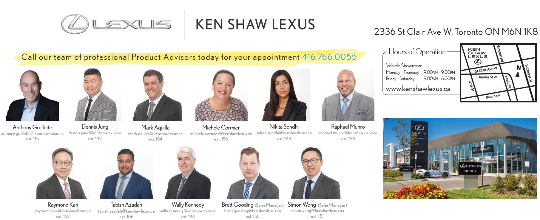 Ken Shaw lexus in toronto sales team