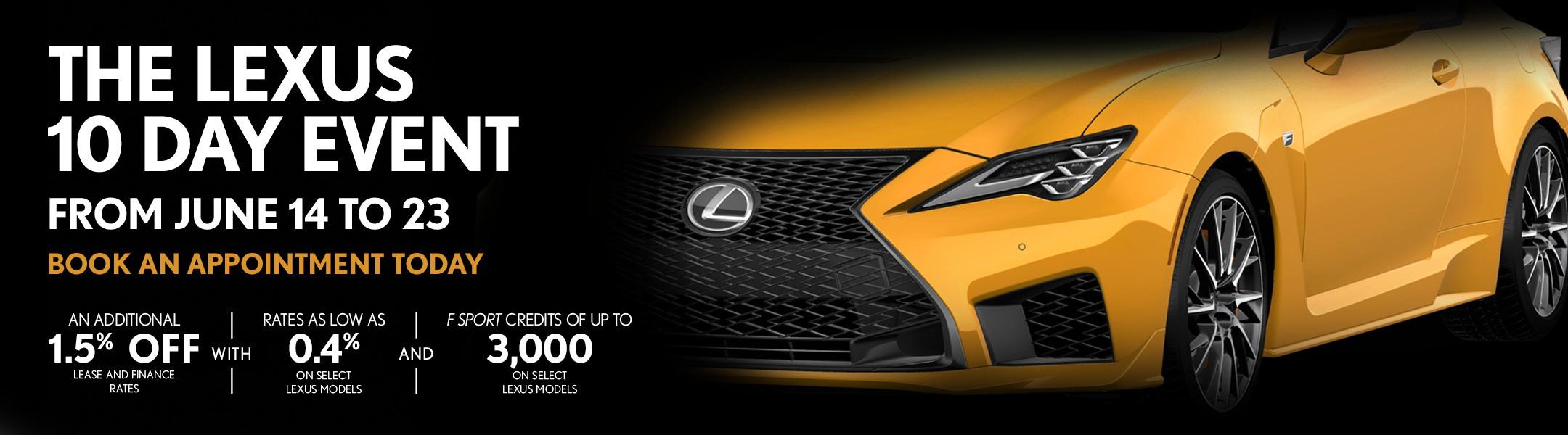 Lexus 10 day even promotion in Toronto, Ontario, GTA, Etobicoke, York, at Ken Shaw Lexus sale